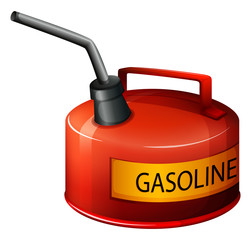 A red gasoline container