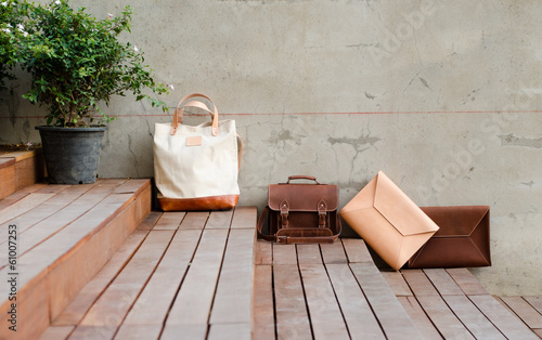 Fashion Leather Bags on grunge background