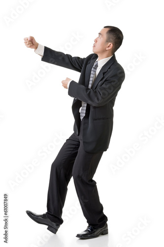 businessman hold rope