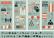 Flat Social Media Infographics plus Icon Set. Vector.