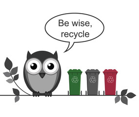 Wise owl with recycle message
