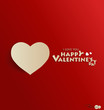 Paper heart shape symbol for Valentines day. Vector illustration