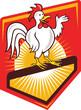 Rooster Cockerel Waving Hello Shield Cartoon