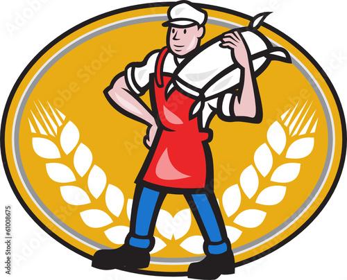 Flour Miller Carry Sack Wheat Oval