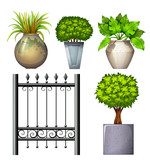A steel gate and potted plants