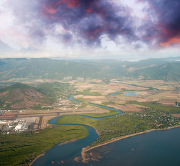 Coast of Queensland. Aerial view of mountains, sea and rivers