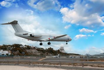 Airplane landing in St. Maarten Island, Dutch Antilles