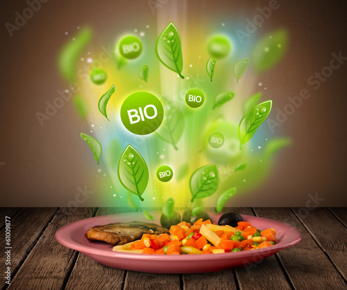 Healthy bio green plate of food