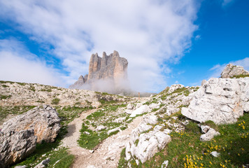 Tre Cime di Lavaredo, Three Mountain Peaks inside Italian Alps