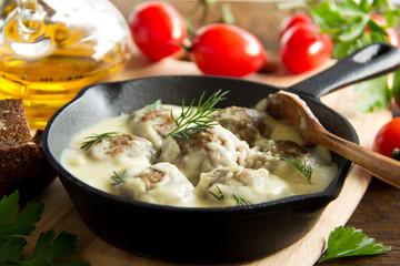 Swedish meatballs in a creamy sauce.