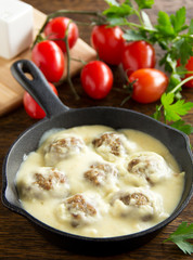 Swedish meatballs in a creamy sauce.