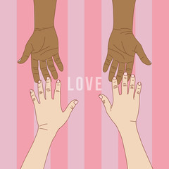 Hand to hand with pink background for Valentines' day, vector fo