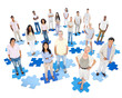 Large Group of People on Jigsaw Pieces