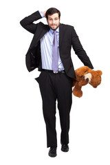 no money businessman with teddy bear