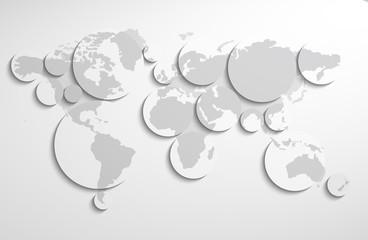 World map circles