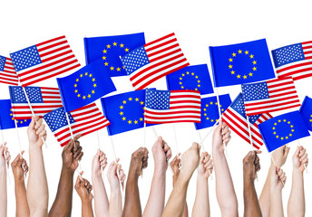EU and Americain Flags