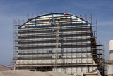 Metal scaffolding for reconstruction of hall in cement factory