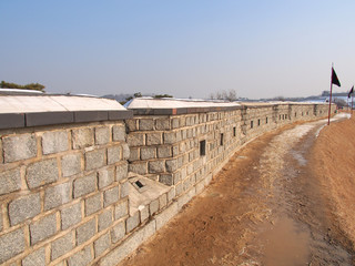 Wall of Hwaseong Fortress in Suwon, South Korea