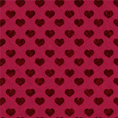 Valentine pattern with seamless hearts on red background