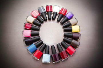 Multicolored nail polish.