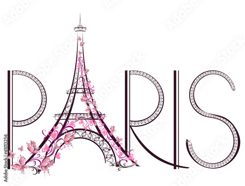 Tower Eiffel with Paris lettering - 61013256