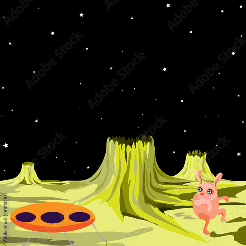 UFO alien flying saucer on another planet (UFO vector series)