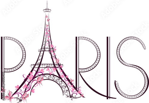 Tower Eiffel with Paris lettering. Vector illustration © Mari79