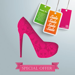 Silver Background Floriad High Heels Price Stickers