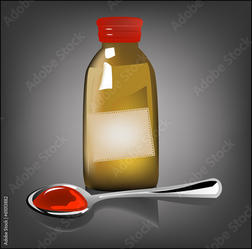 illustration of bottle pouring medicine syrup in spoon