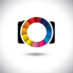 abstract SLR digital camera with colorful shutter vector icon