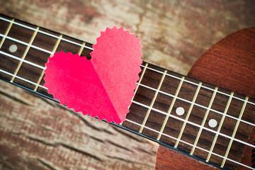 Guitar lover. Valentine's concept.