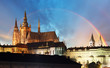 Prague Castle with rainbow - Czech republic