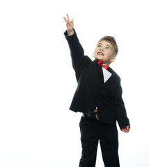 Little boy in hat and black suit isolated on white background