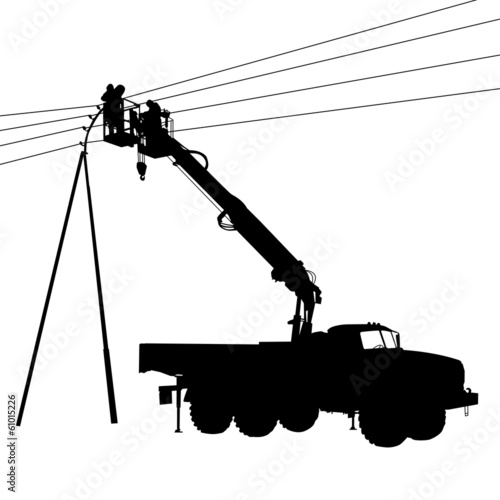 Electrician, making repairs at a power pole. Vector illustration - 61015226