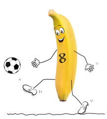 Banana with football