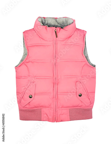 Pink vest isolated on white.