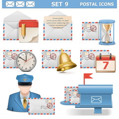 Vector Postal Icons Set 9