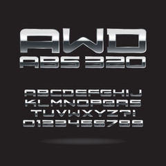 Metallic Chrome Font and Numbers, Eps 10 Vector, Editable for an