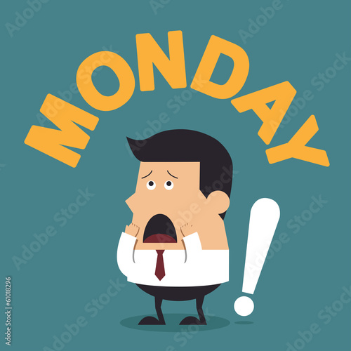 "Young Businessman With the Word ""Monday"", Business concept"