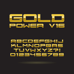 Golden Chrome Font and Numbers, Eps 10 Vector, Editable for any