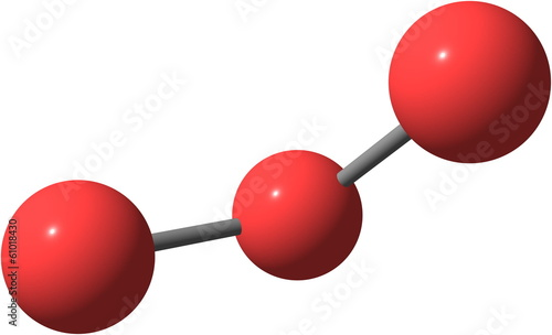 Ozone (O3) molecular structure isolated on white