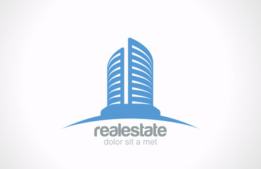 Logo Real Estate vector design. Skyscraper Business sign