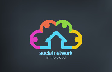 Logo Social Cloud vector icon design template. Marketing