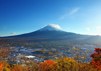 Mountain fuji and village