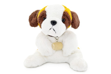 Plush dog toy isolated on a white background.