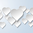 Abstract flying hearts on light blue background. Valentines day