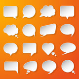 Modern paper speech bubbles set on orange background for web, ba