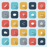 Trendy communication icons set in flat design with long shadows