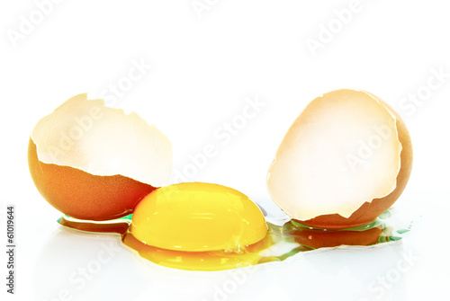 Broken egg isolated on a white background.