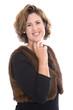 Frau, 40 Jahre: Portrait Geschäftsfrau lachend freigestellt